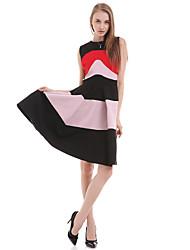 De las mujeres Línea A Vestido Simple A Rayas Sobre la rodilla Escote Redondo Algodón / Poliéster