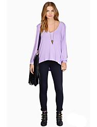 Women's Solid Blue / Black / Green Blouse,V Neck Long Sleeve