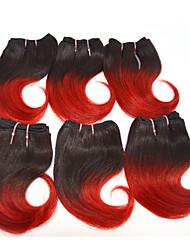 4pcs buenas baratas / set del pelo humano de la armadura húmeda ombre 2 tono de color # 1b / 100 g de 8 pulgadas ondulado de color rojo