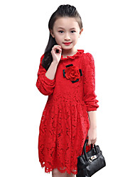 Girl's Cotton Spring / Fall Pure Color Falbala Neckline Lace Long Sleeve  Dress