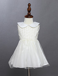 Robe Fille de Eté Coton Beige