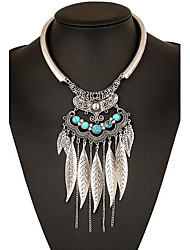MPL Europe and the United States exaggerated smooth metal necklace tassel leaves