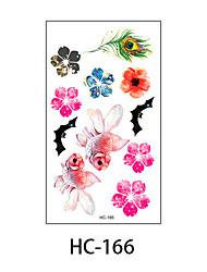 (1pcs) New Design Fashion Goldfish & Feather & Flower Temporary Tattoo Stickers Temporary Body Art Waterproof Tattoo