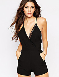 Women's Solid Black Jumpsuits , Holiday / Beach V Neck Sleeveless