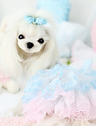 Dog Dress Yellow Blue Pink Dog Clothes Summer Spring/Fall Embroidered Wedding Fashion