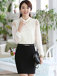 Women's Elegant Solid Lace White Blouse , Peter Pan Collar Long Sleeve
