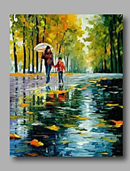 "Ready to Hang Stretched Hand-Painted Oil Painting 24""x32"" Canvas Wall Art Modern Lanscape Mother Child Umbrella"