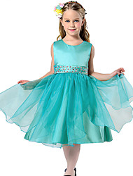 Toddler Girl's Green/ Red / White Dress , Dresswear Polyester /Organza Floral Evening Party Wedding Dresses