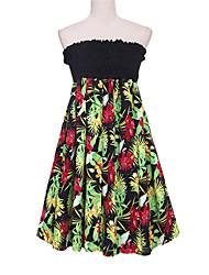 Mulheres Vestido Swing Sexy Floral Mini Sem Alças Algodão / Poliéster