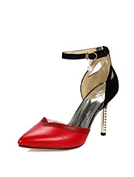 Women's Shoes Leatherette Stiletto Heel Heels Heels Wedding / Office & Career / Party & Evening Black / Red / White