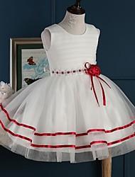 A-line Short / Mini Flower Girl Dress - Tulle Sleeveless Jewel with