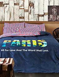 New Arrivals Paris Bedding Set 100% Cotton Fabric Duvet Cover Blue Bed Sheets Super Soft Full Queen