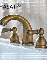 Antique Brass Finish Widespread Bathroom Sink Faucet