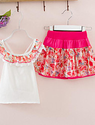 Summer Flowers Splicing Cotton Condole Belt Vest Culottes 2 Sets Of The Girls
