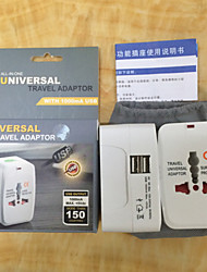 All in One Universal International Plug Adapter 2 USB Port World Travel AC Power Charger with AU US UK EU converter Plug