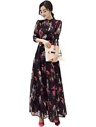 Women's Simple  Crew Neck Maxi  Floral Sheath Dress
