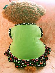 Dog Dress Green Dog Clothes Summer Polka Dots / Hearts Fashion