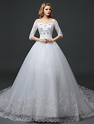 A-line Wedding Dress - White Chapel Train Off-the-shoulder Lace / Satin