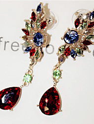 Earring Drop Earrings Jewelry Women Alloy / Imitation Pearl / Rhinestone 2pcs Red / Green