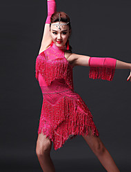 Robes(Noire / Fuchsia / Bleu Royal,Elasthanne,Danse latine)Danse latine- pourFemme Frange (s) Spectacle Danse latine
