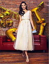 TS couture® коктейль / компания платье партии линии V-образным вырезом чай длины шнурка / тюль с бантом (ов) / кружева