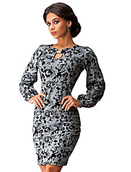 Women's Casual Day Floral Sheath Printed Dresses With Short Sleeves  , Round Neck Above Knee Polyester