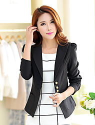 Women's Solid Blue / Pink / Black / Yellow Blazer , Simple V Neck Long Sleeve