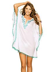 Women Beach Dress Embroidery Lace Pompom V-Neck Half Sleeve Dress Bikini Cover Up
