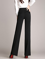 Women's Solid Black Straight Pants , Work