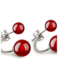 2016 Korean Unisex 925 Silver Sterling Silver Jewelry Gem Stone Ball Earrings Stud Earrings 1Pair