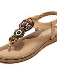 Women's Flat Heel Open Toe Sandals Black / Almond