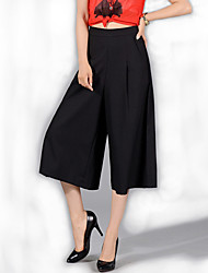 Women's Solid Blue / White / Black / Purple Loose Thin 9/10 Wide Leg Pants , Casual / Day / Simple