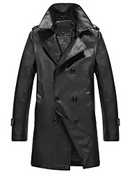 The new young men's leather in autumn and winter in the long slim type business casual long PU leather jacket tide