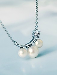 S925 Sterling Silver South Korea Fashion Set Auger Pearl Pendant Necklace JHYXL001