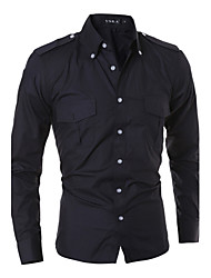 HOT Men cultivating long-sleeved shirt casual fashion solid color epaulette double pocket shirt MDUM28