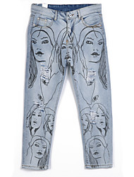 Women's Print Blue Jeans Pants,Street chic
