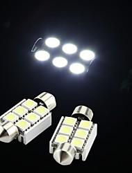 branco 6 SMD LED festão interior 36 milímetros cúpula lâmpada (2 peças)