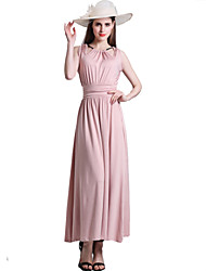 Women's Sexy Solid Sheath Swing Dress , Halter Maxi Rayon / Polyester