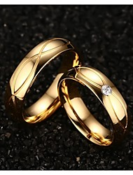 Couple's Statement Rings Costume Jewelry Titanium Steel Gold Plated Jewelry For Wedding Party Daily Casual Sports