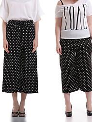 Women's Polka Dot Black Wide Leg Pants,Casual / Day