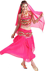 Belly Dance Outfits Women's Performance Chiffon Sequins 4 Pieces Blue / Fuchsia / Purple / Red / Yellow Belly Dance Sleeveless Dropped
