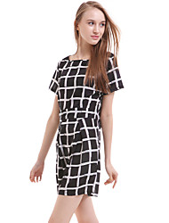 Casual Women Dress Slim Short Sleeved Plaid Print Bodycon Dresses