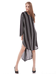 Women's Casual/Daily Simple Shirt,Striped V Neck Long Sleeve White / Black Silk Translucent