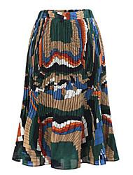 Women's Print Green / Orange Skirts , Casual / Day Knee-length