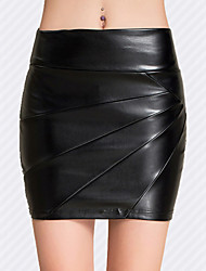 Women High Waist Bodycon Thin PU Skirt , Fleece Lining