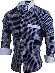 Men's Long Sleeve Shirt , Cotton Casual Plaids & Checks