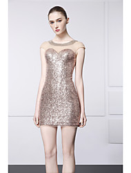 Cocktail Party Dress - Champagne Sheath/Column Jewel Short/Mini Satin / Sequined