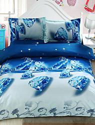 3d moda ropa de cama de la impresión floral cómodo de cuatro piezas