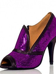 Women's Latin Ballroom Dance Shoes Jazz / Salsa / Samba Satin / Sparkling Glitter Customized Heel Sandals Black Purple