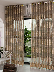Two Panels European Coffee Living Room Polyester Sheer Curtains Shades